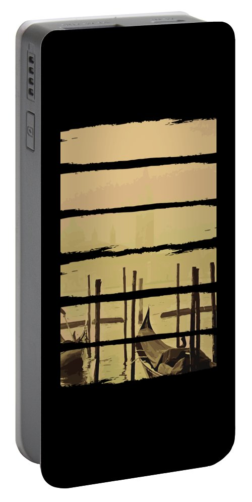 Fishing Portable Battery Charger featuring the digital art River Boat Scenery by Jacob Zelazny