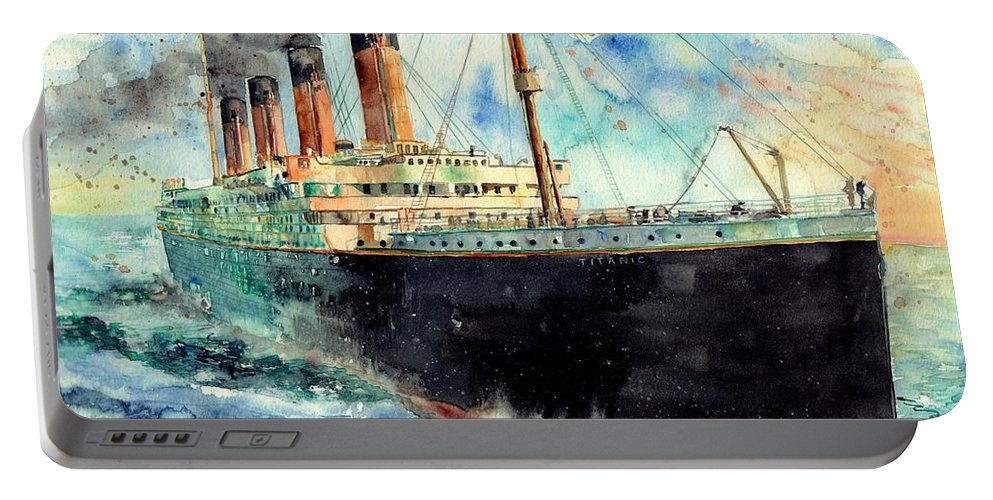 Rms Titanic Portable Battery Charger featuring the painting RMS Titanic White Star Line Ship by Suzann Sines