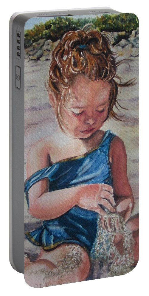 Beach Portable Battery Charger featuring the painting Sand by Karen Ilari