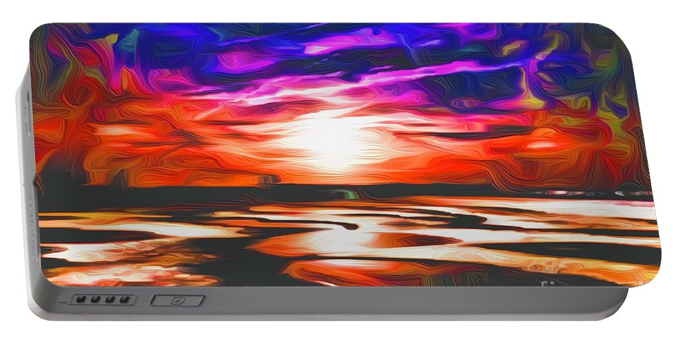 Landscape Portable Battery Charger featuring the digital art Sands Beach by Michael Stothard