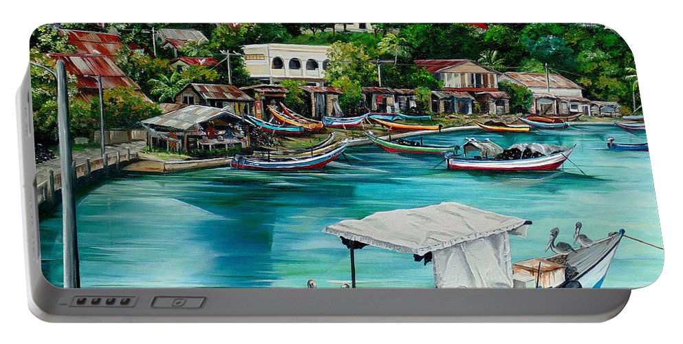 Ocean Painting Sea Scape Painting Fishing Boat Painting Fishing Village Painting Sanfernando Trinidad Painting Boats Painting Caribbean Painting Original Oil Painting Of The Main Southern Town In Trinidad  Artist Pob Portable Battery Charger featuring the painting Sanfernando Wharf by Karin Dawn Kelshall- Best