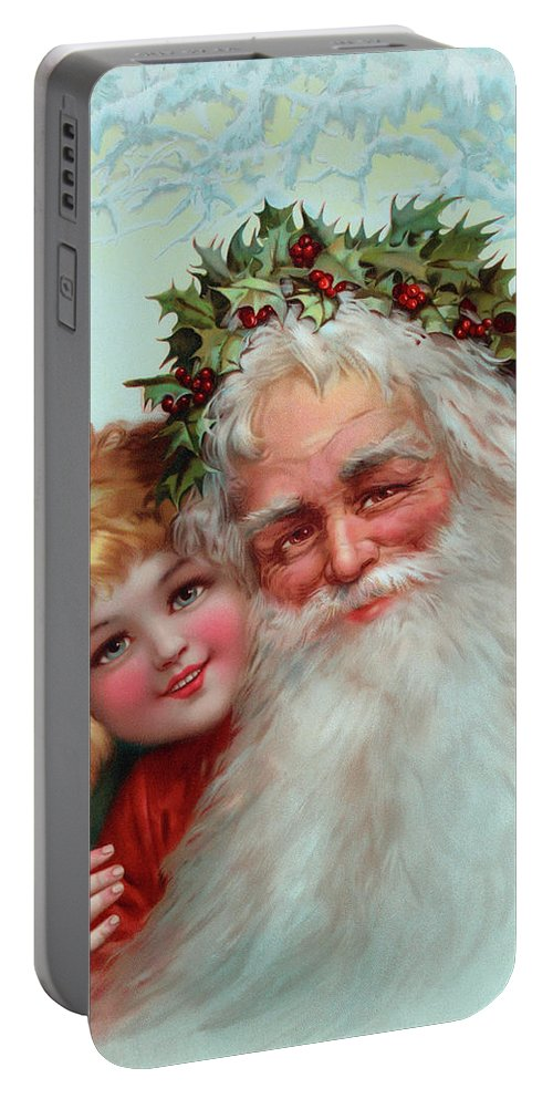 Father Christmas Portable Battery Charger featuring the painting Santa Claus, 1898 by Vintage Poster