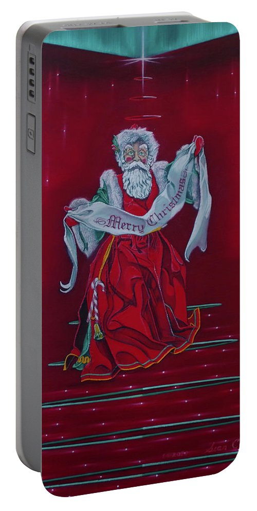 Realism Portable Battery Charger featuring the painting Santa Claus - Top Of The World by Sean Connolly
