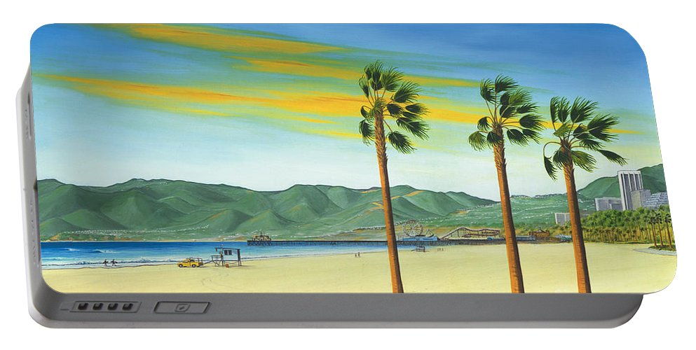Santa Monica Portable Battery Charger featuring the painting Santa Monica by Jerome Stumphauzer