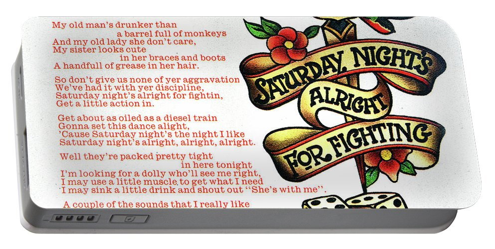 Rock And Roll Portable Battery Charger featuring the mixed media Saturday Nights Alright for Fighting 1973 by David Lee Thompson