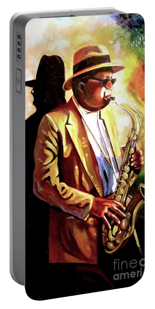 Sax Portable Battery Charger featuring the painting Sax Player by Jose Manuel Abraham