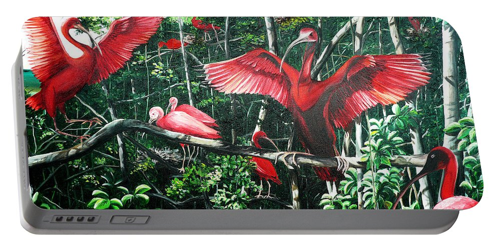 Caribbean Painting Scarlet Ibis Painting Bird Painting Coming Home To Roost Painting The Caroni Swamp In Trinidad And Tobago Greeting Card Painting Painting Tropical Painting Portable Battery Charger featuring the painting Scarlet Ibis by Karin Dawn Kelshall- Best