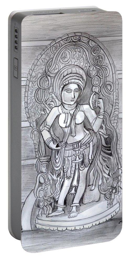 Sculpture Portable Battery Charger featuring the drawing Sculpture pencil drawing of Madanika Chennakesava temple Karnataka by Manjiri Kanvinde