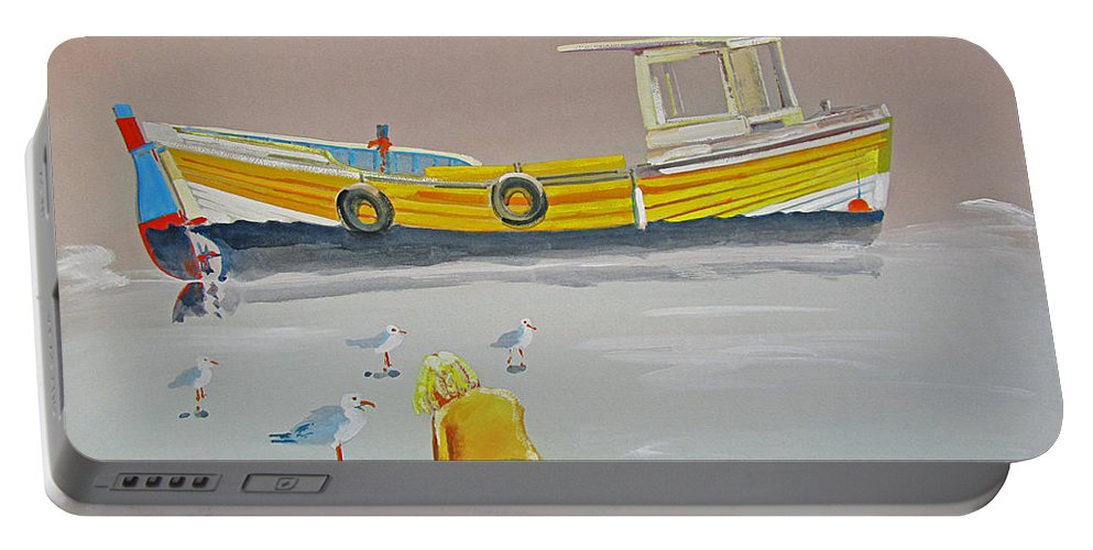 Fishing Boat Portable Battery Charger featuring the painting Seagulls With Fishing Boat by Charles Stuart