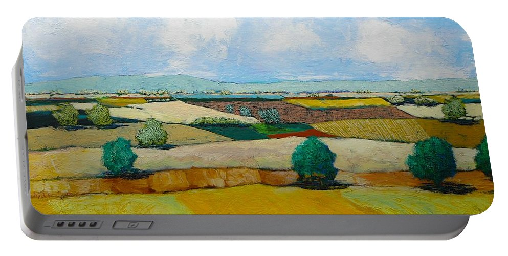 Landscape Portable Battery Charger featuring the painting Sears Point by Allan P Friedlander