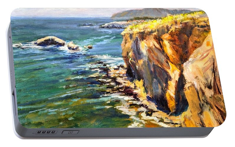 California Coast Portable Battery Charger featuring the painting Seaside Cliffs, Pismo Beach by Peter Salwen