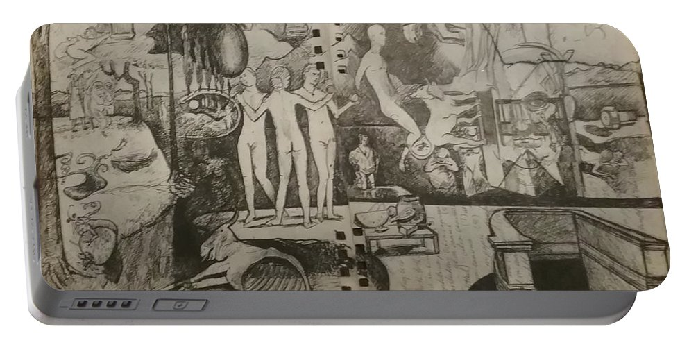 Orions Belt Portable Battery Charger featuring the drawing Second half of sketch for, Time immutable, OrionsBelt, and the New Madrid Straight by Jude Darrien