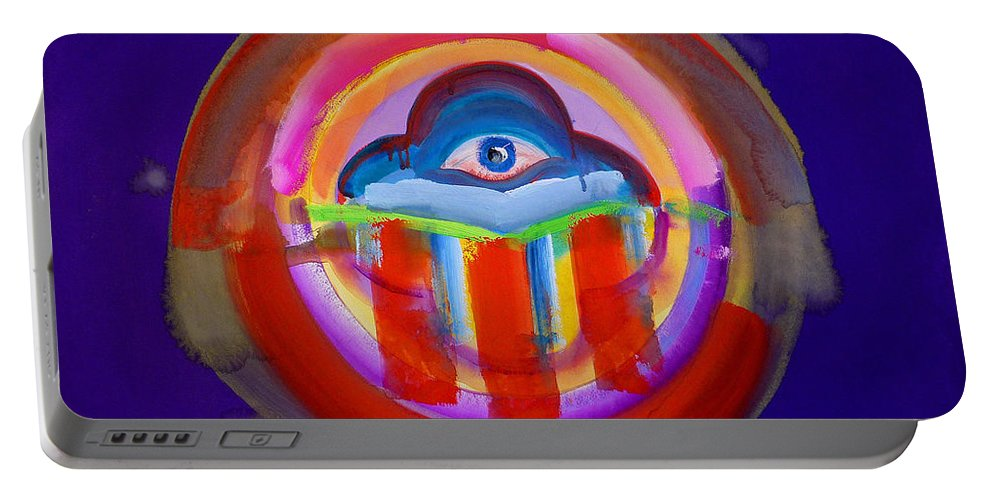 Button Portable Battery Charger featuring the painting See No Evil by Charles Stuart