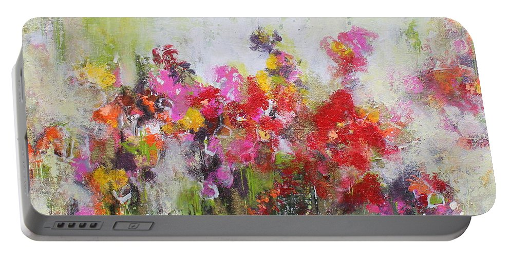 Flowers Portable Battery Charger featuring the mixed media Seeds of love by Claudia Gantenbein