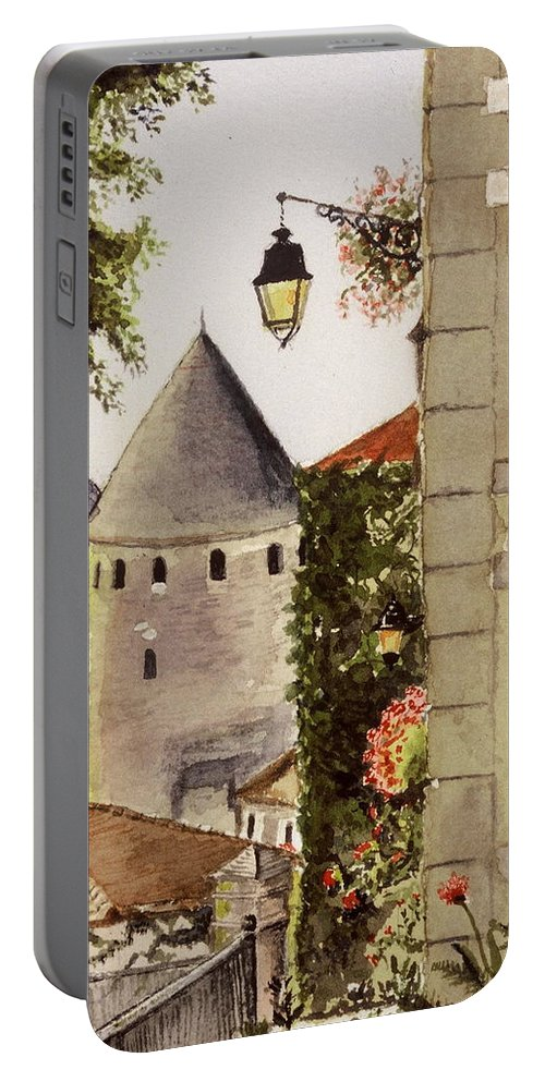 France Portable Battery Charger featuring the painting Semur en Auxois by Mary Ellen Mueller Legault