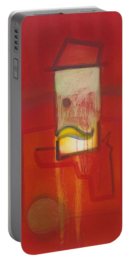 Red Portable Battery Charger featuring the painting Shadow of a Gunman by Charles Stuart