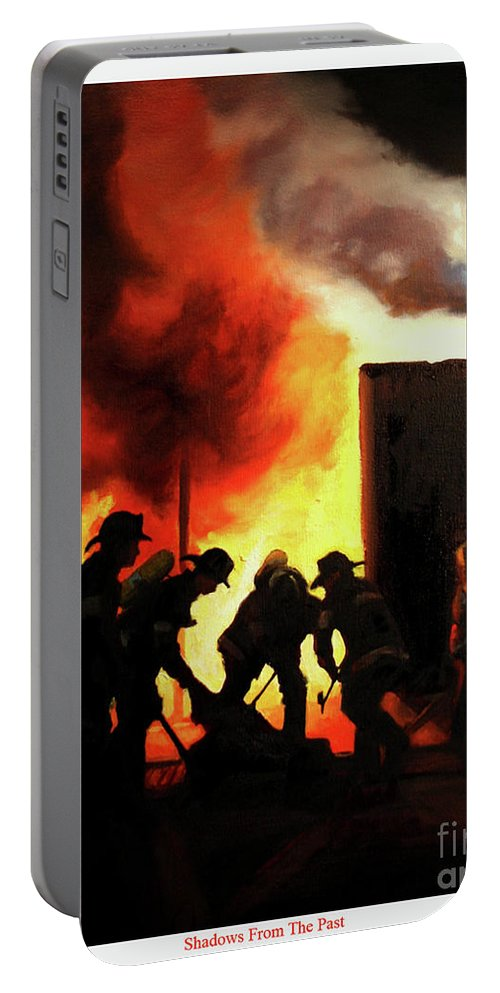 Fdny Portable Battery Charger featuring the painting Shadows From The Past by Paul Walsh
