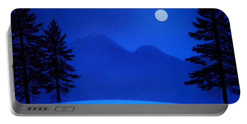 Night Portable Battery Charger featuring the painting Sierra Moon by Frank Wilson