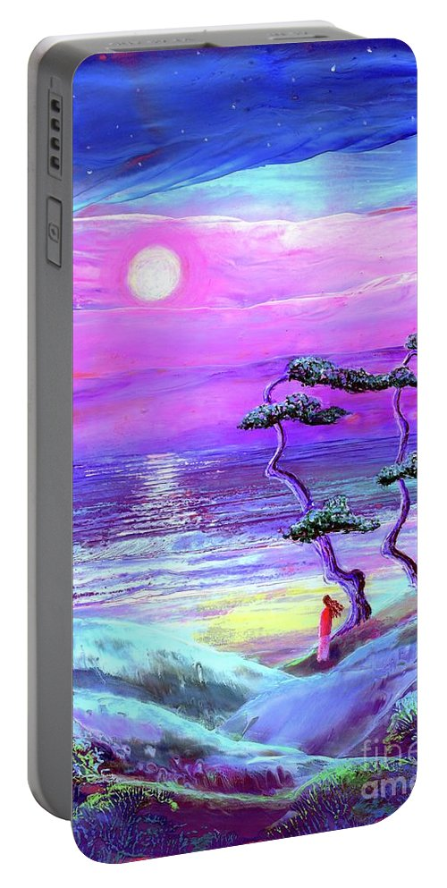 Meditation Portable Battery Charger featuring the painting Silver Shadows by Jane Small