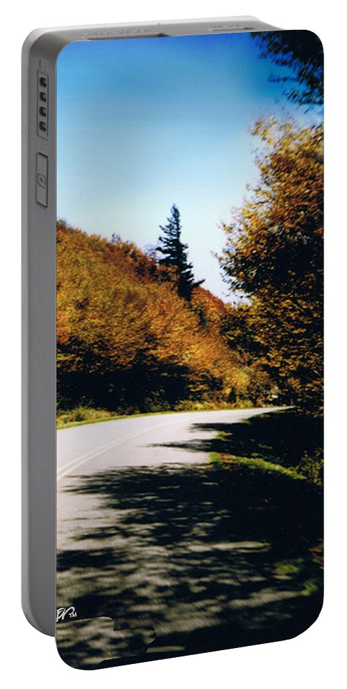 High In The Great Smoky Mtn. As You Round A Curve Stands This Noble Spruce. Portable Battery Charger featuring the photograph Single Spruce by Seth Weaver