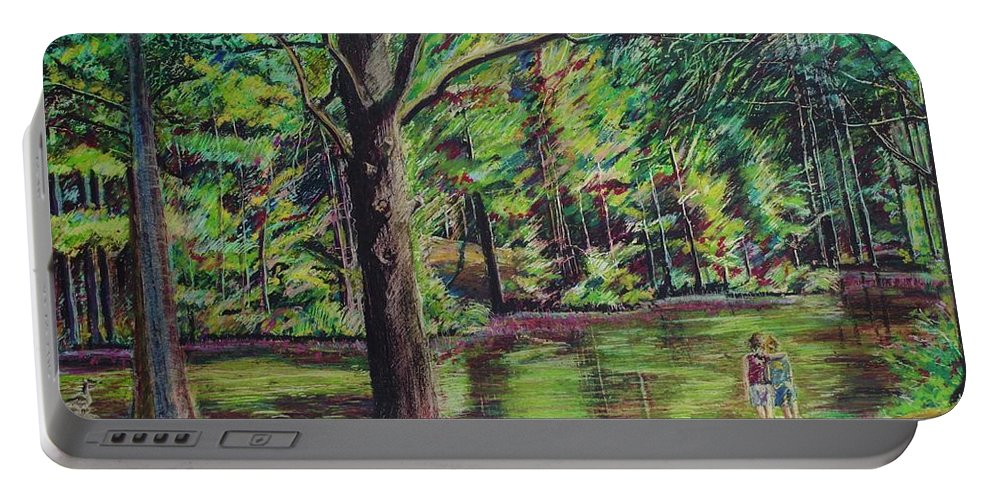 Family Portable Battery Charger featuring the pastel Sisters At Wason Pond by Sean Connolly