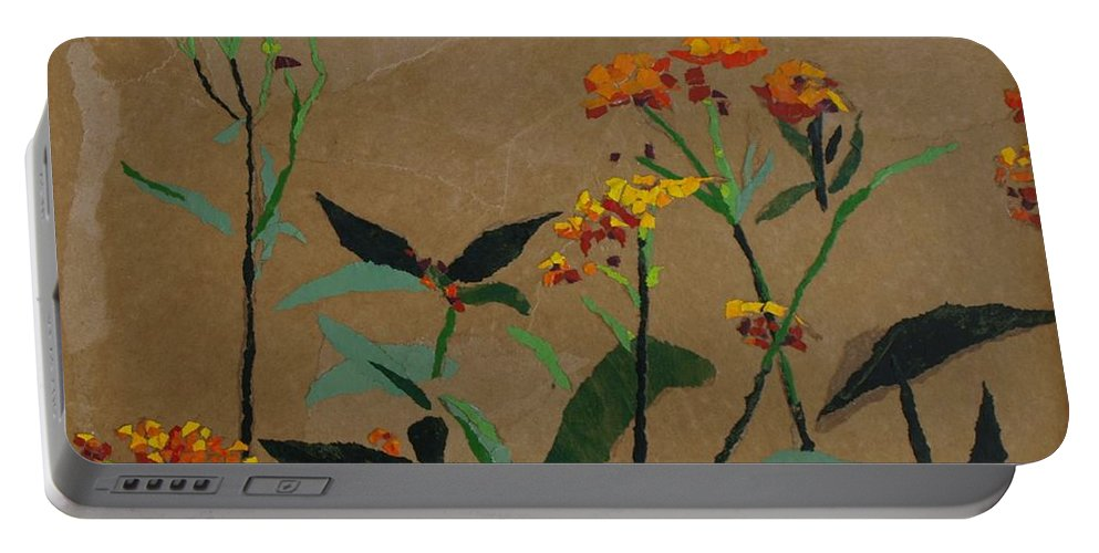 Floral Recycled Collage Portable Battery Charger featuring the painting Smith Garden by Leah Tomaino