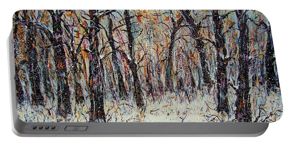 Landscape Portable Battery Charger featuring the painting Snowing In The Forest by Natalie Holland