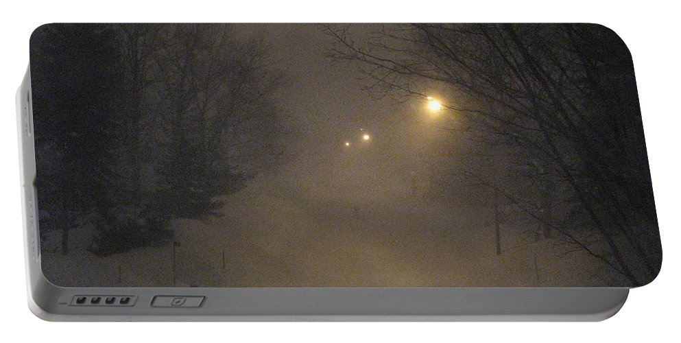 Snow Portable Battery Charger featuring the photograph Snowy Night by Mary Ellen Mueller Legault