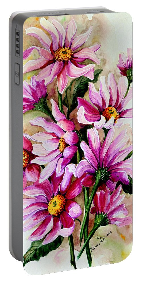 Pink Daisy Floral Painting Flower Painting Botanical Painting Bloom Painting Greeting Card Painting Portable Battery Charger featuring the painting So Pink by Karin Dawn Kelshall- Best