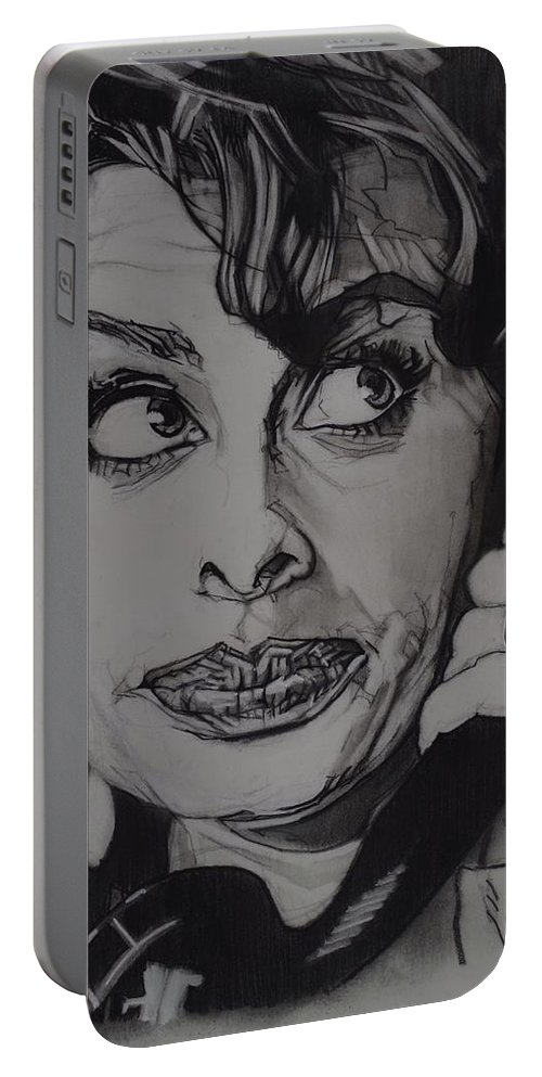 Charcoal On Paper Portable Battery Charger featuring the drawing Sophia Loren Telephones by Sean Connolly