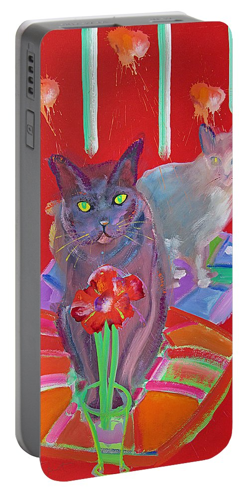 Cat Portable Battery Charger featuring the painting Sophisticats by Charles Stuart