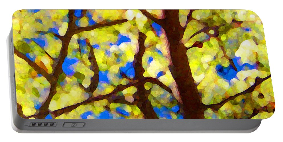 Abstract Portable Battery Charger featuring the painting Spring Tree by Amy Vangsgard