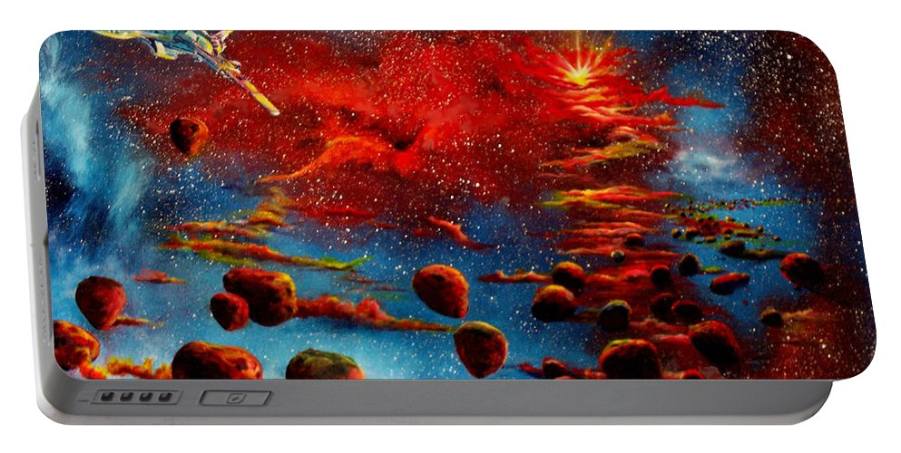 Nova Portable Battery Charger featuring the painting Starberry Nova Alien excape by Murphy Elliott