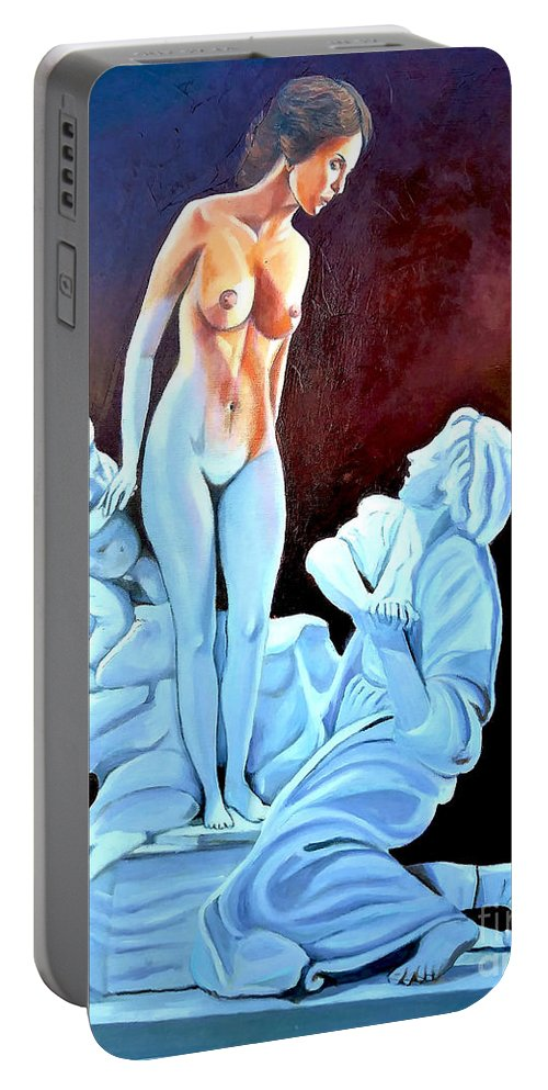 Women Portable Battery Charger featuring the painting Statue 2 by Jose Manuel Abraham