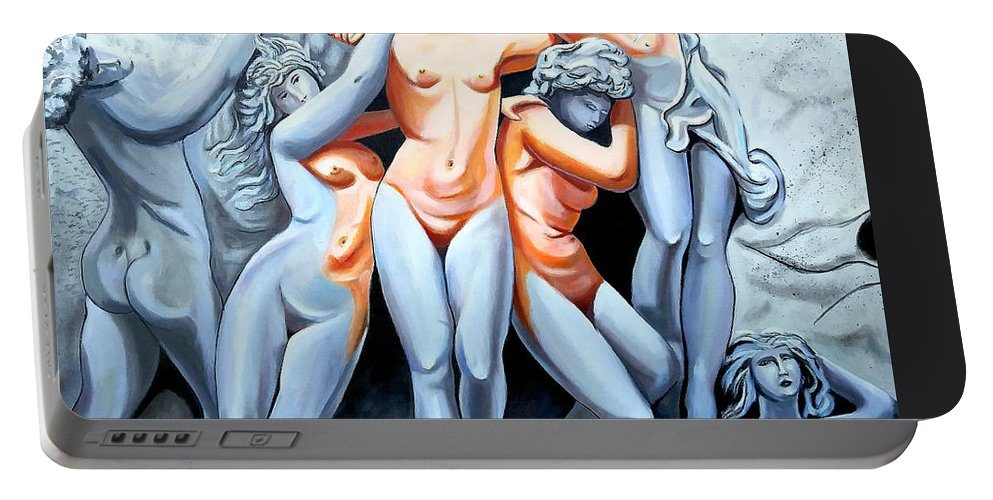 Statue Women Portable Battery Charger featuring the painting Statue 3 by Jose Manuel Abraham