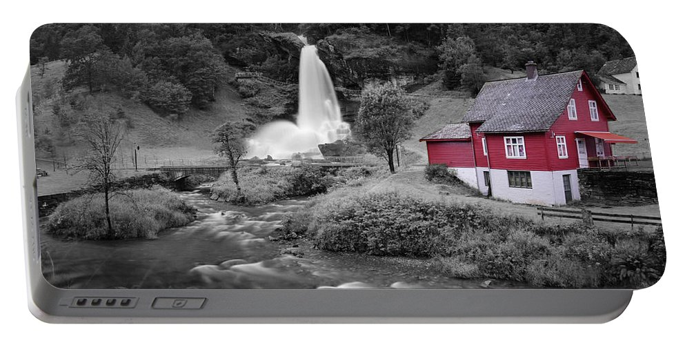 Portable Battery Charger featuring the photograph Steinsdalsfossen by Pop