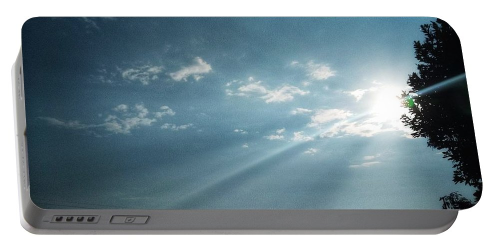 Sky Portable Battery Charger featuring the photograph Striking rays by Yvonne's Ogolla