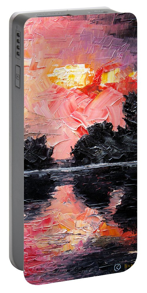 Lake After Storm Portable Battery Charger featuring the painting Sunset. After storm. by Sergey Bezhinets