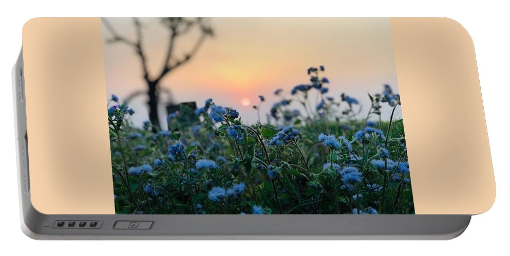 Flowers Portable Battery Charger featuring the photograph Sunset Behind Flowers by Prashant Dalal