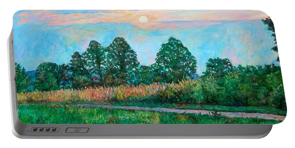 Kendall Kessler Portable Battery Charger featuring the painting Sunset Near Fancy Gap by Kendall Kessler