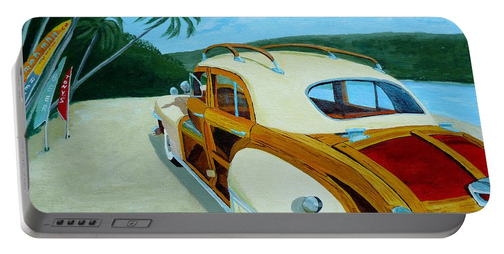 Woody Portable Battery Charger featuring the painting Beach Woody by Anthony Dunphy