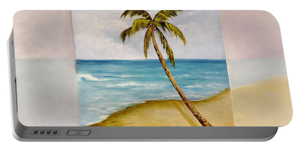 Tropical Island Portable Battery Charger featuring the painting Swaying Palm by Darice Machel McGuire