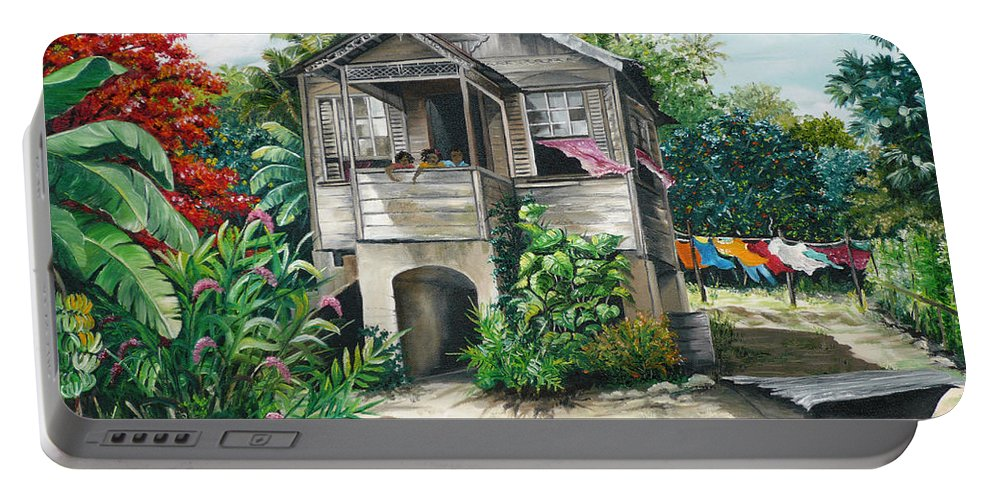 Landscape Painting Caribbean Painting House Painting Tobago Painting Trinidad Painting Tropical Painting Flamboyant Painting Banana Painting Trees Painting Original Painting Of Typical Country House In Trinidad And Tobago Portable Battery Charger featuring the painting Sweet Island Life by Karin Dawn Kelshall- Best