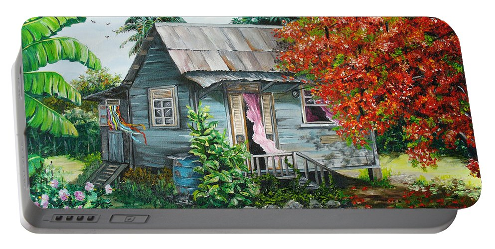 Caribbean Painting Original Painting Trinidad And Tobago ..house Painting Flamboyant Tree Painting Red Blossoms Painting Floral Painting Tree Painting Tropical Painting Portable Battery Charger featuring the painting Sweet Tobago Life. 2 by Karin Dawn Kelshall- Best