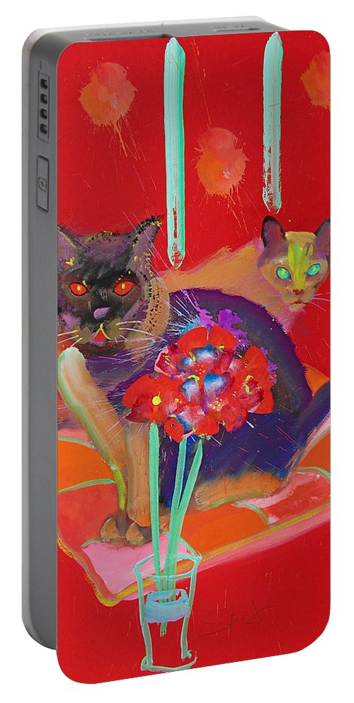 Burmese Cat Portable Battery Charger featuring the painting Symphony In Red Two by Charles Stuart