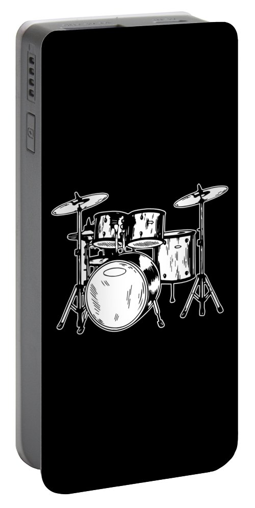 Drummer Portable Battery Charger featuring the digital art Tempo Music Band Percussion Drum Set Drummer Gift by Haselshirt