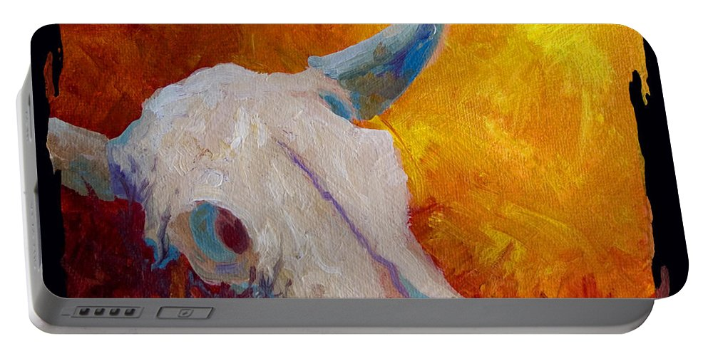 Longhorn Portable Battery Charger featuring the painting Texas Longhorn Skull by Marion Rose