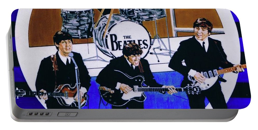 The Beatles Live Portable Battery Charger featuring the drawing The Beatles - Live On The Ed Sullivan Show by Sean Connolly