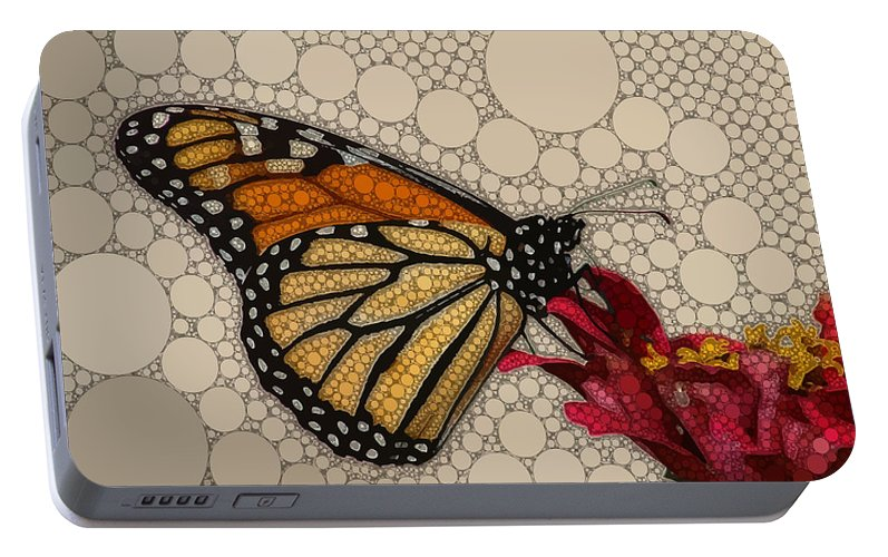 Brown Portable Battery Charger featuring the digital art The Circular Monarch by Dahl Winters