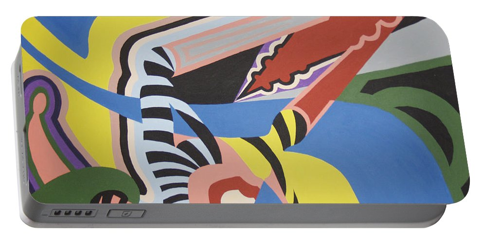 Colorful Portable Battery Charger featuring the painting The dog days of summer by Dean Stephens